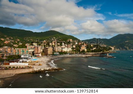 Italian city of Recco on the Mediterranean sea