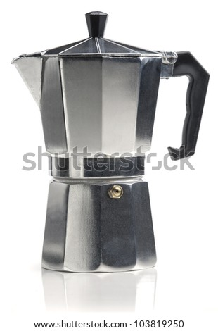 Italian coffee maker isolated on white background. - stock photo