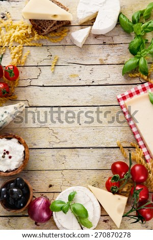 Italian cooking. Fresh ingredients with pasta for italian cuisine. Cheese variety - stock photo