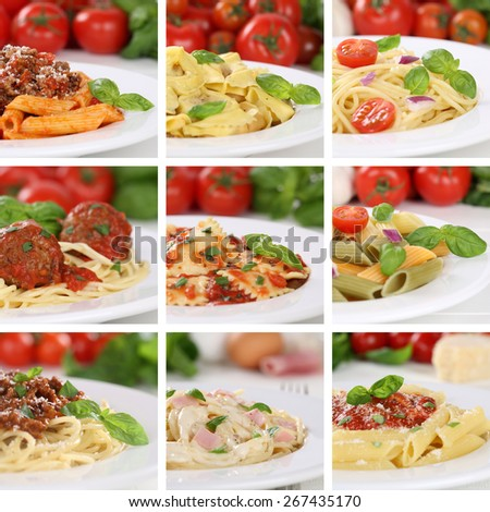 Italian cuisine collection of spaghetti pasta noodles food penne meals with tomatoes and basil - stock photo