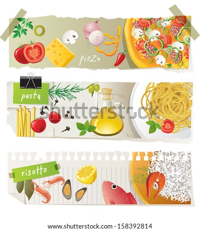 Italian cuisine dishes - pizza, pasta and risotto - stock photo