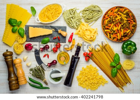 Italian Cuisine Food Pasta and Cooking Ingredients - stock photo