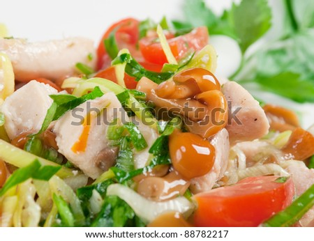 Italian cuisine.healthy salad of pork,mushrooms