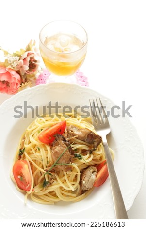 Italian cuisine, smoked oyster and mushroom spaghetti  for autumn gourmet image