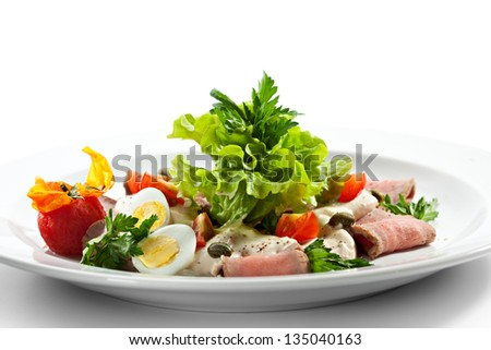 Italian Cuisine - Vitello Tonnato. Cold Sliced Veal with Eggs and Creamy Sauce