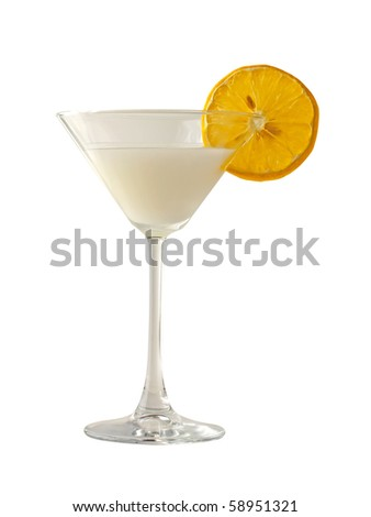 "Italian dessert ""sorbetto"" with slice of lemon, in an elegant glass, isolated over white"