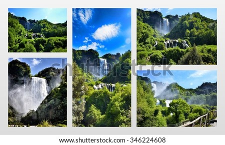 Italian destination, Marmore's falls, tallest man-made waterfall in Europe, photo collage - stock photo