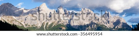 "Italian dolomites peak. Mountain landscape from ""San Martino di Castrozza"". Geological formations"