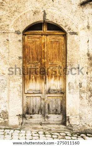 italian door in a small village, Italy