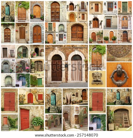 italian doors collage, Europe - stock photo
