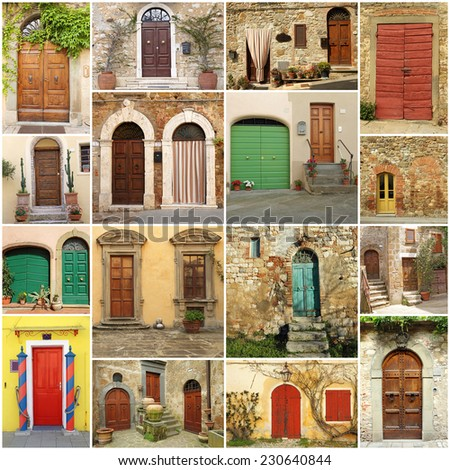 italian doorways collage - stock photo