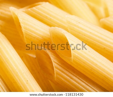 Italian dried macaroni, isolated in white
