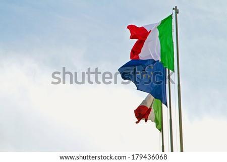 Italian flag - stock photo