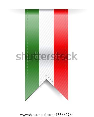 italian flag banner illustration design over a white background - stock photo