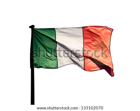Italian flag in the sunshine on a white background