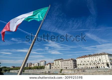 italian flag in turin city - stock photo