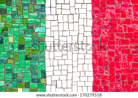 Italian flag with mosaic texture - stock photo