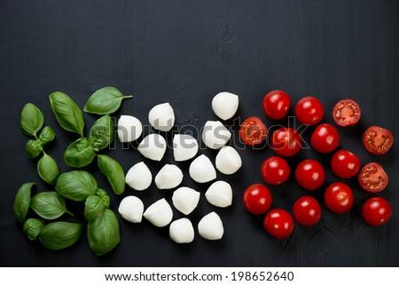 Italian flavors: green basil, mozzarella and cherry tomatoes - stock photo