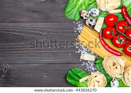 Italian Food Background On Rustic Wood Board