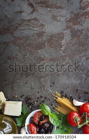 Italian food background with room for copy. - stock photo