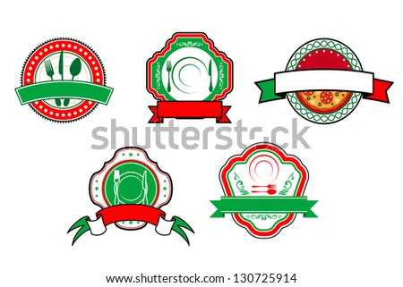 Italian food banners and labels for cafe and restaurant design. Vector version also available in gallery - stock photo