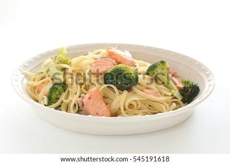 Italian Food Broccoli And Salmon Fish Linguine Pasta
