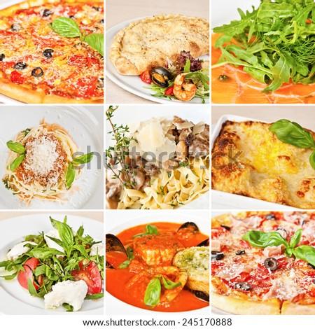 Italian food collage including pizza, seafood calzone, salmon carpaccio, spaghetti alla Bolognese, tagliatelle, lasagna Bolognese, caprese salad and tomato minestrone soup - stock photo