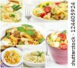 Italian food collage - pasta and risotto - stock photo