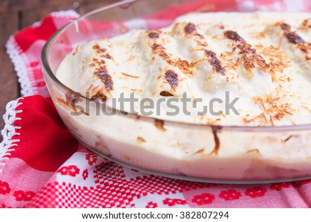 Italian Food. Hot tasty Lasagna plate served with fresh basil le - stock photo