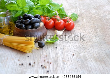 Italian food ingredients, natural food, background for text - stock photo
