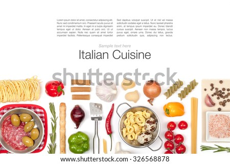 Italian food ingredients on white background - stock photo