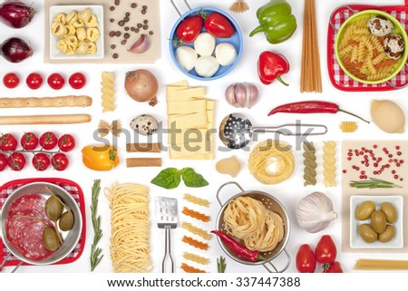 Italian food ingredients on white background top view - stock photo