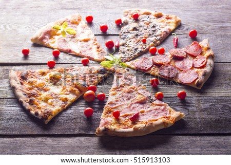 Italian food - pizza on wooden table