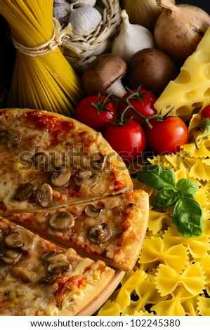 italian food, pizza, pasta and ingredients - stock photo