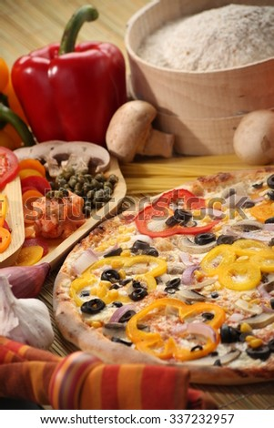 Italian food setting with pizza