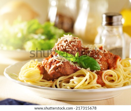 italian food - spaghetti and meatballs - stock photo