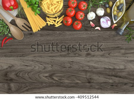 Italian food with tomatoes, basil, spaghetti,pasta, olives, olive oil, garlic, peppercorns and wooden table. top view, background.  - stock photo