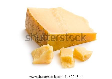 Italian hard cheese on white background - stock photo