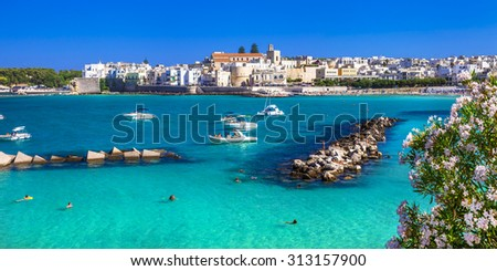 Italian holidays - beautiful Otranto with azure sea, in Puglia - stock photo