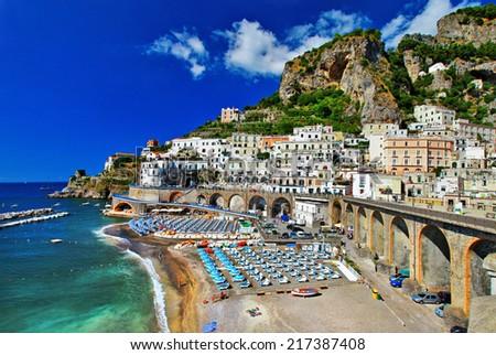 Italian holidays - breathtaking  Amalfi coast, Atrani village - stock photo