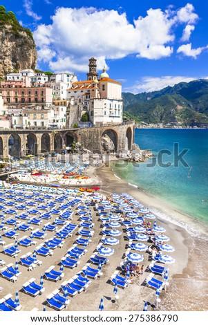 italian holidays, scenic Amalfi coast, Atrani village - stock photo