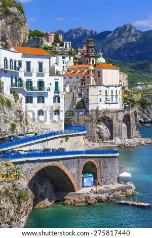 italian holidays, scenic Amalfi coast, Atrani village - stock photo