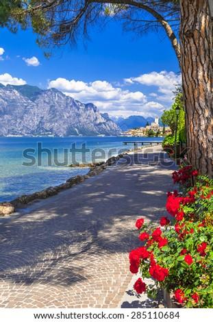 Italian holidays. scenic Lago di Garda- Malcesine - stock photo