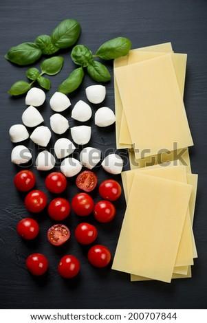Italian ingredients - basil, tomatoes, cheese and lasagna sheets - stock photo
