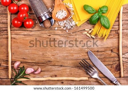 Italian ingredients for menu - stock photo