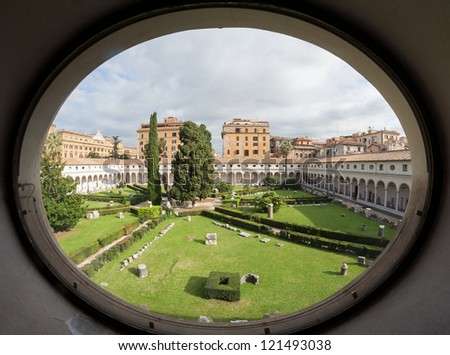 Italian landscape in round frame. Museum in Rome. - stock photo