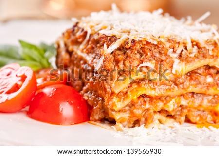 Italian lasagna - stock photo