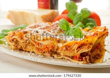italian lasagne  with ragout  - stock photo