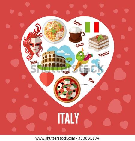 Italian love - heart shape with icons. Icons with elements of pizzas, pastas, Coliseum, coffee, masks, wine, tiramisu, maps of Italy. - stock photo