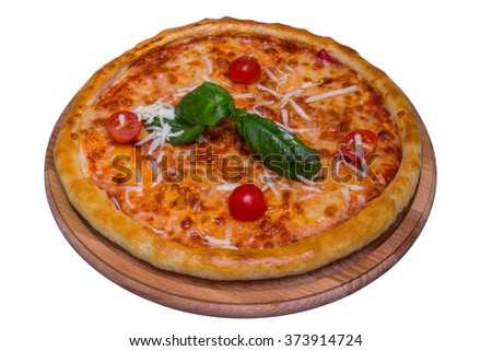 Italian margarita pizza with basil, mozzarella and tomatoes, isolated with clipping path
